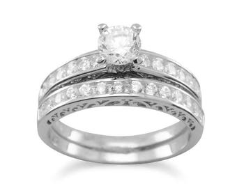Rhodium Plated Sterling Silver with CZ's Engagement and Wedding Band Set - SIZES 4-11