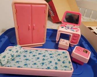 Vintage Barbie Dream Furniture Bedroom set 1977 Complete with box