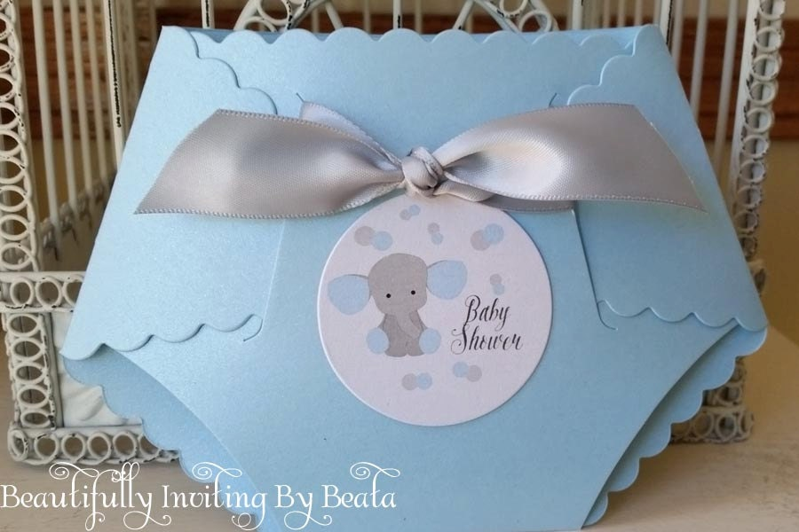 Baby Elephant Baby Shower Invitation Blue and Gray Baby