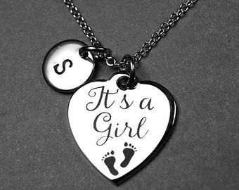 It's a Girl necklace, it's a girl charm, baby necklace, New mommy necklace, mom, new mom jewelry, personalized charm, initial necklace