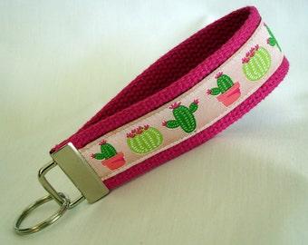 Cactus Key Fob - Key Fob Wristlet - Key Chain Fob - Key Wristlet - Key Fob Keychain - Keychain Wristlet - Succulents - READY TO SHIP