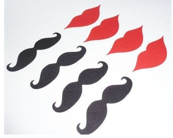 Mustache and Lip Die Cut, Mustaches Lips Gender Reveal #100 pieces (3034M)