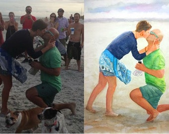 Engagement Gift, Gifts for Couple, Personalize Watercolor Painting, Unique Engagement present, LGBT Gay Same Commitment, Painting from Photo