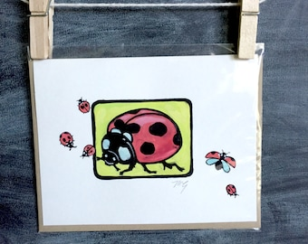 "Hand painted lady bug card, Original miniature painting, ""Lana"" 4, blank greeting card, insect card"
