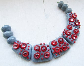 Lampwork beads set, grey with red lampwork beads set, artisan lampwork beads, lampwork beads sra, handmade glass beads, glass beads jewelry