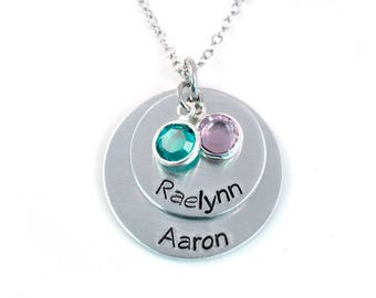 Personalized Necklace - Layered Name Necklace - Mommy Necklace - Layered Brag Necklace - Handstamped Aluminum Necklace