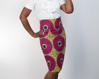 Ankara Asabi Skirt, Straight Skirt