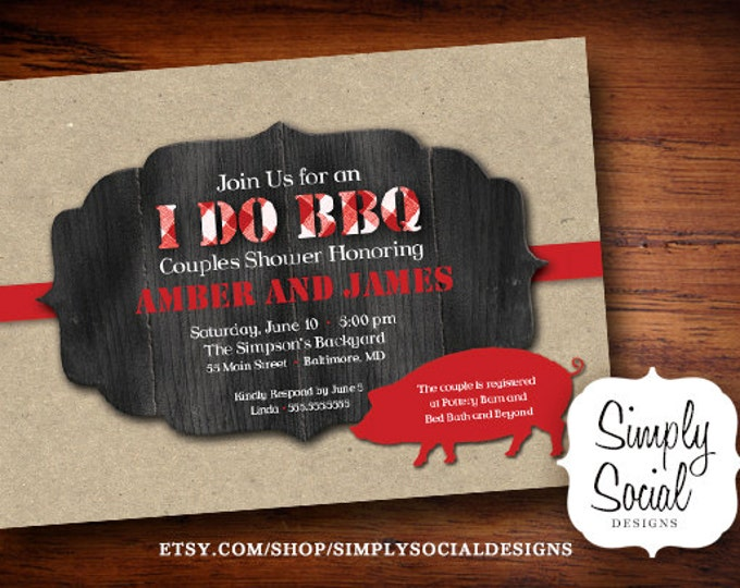 I Do BBQ Invitation Kraft paper Barn Wood Pig Roast Couples Shower PRINTABLE
