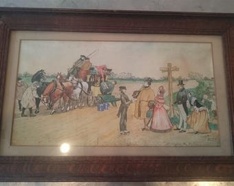 Antique Victorian Watercolor Painting in Original Oak Wood Frame  1800's