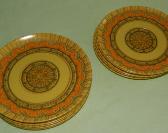 14 Plates Laguna Melmac California 6 Saucer #302 Bread and Butter Plates and 8 Sandwich or Pie Plates #301 Yellow and Orange Sacred Geometry