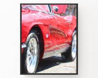 Classic Car Print - Red Garage Decor, 1953 Corvette Print, Digital Download, Classic Car Decor, Garage Decor, Gift for Dad, Printable Art