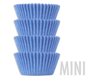 Mini Solid Light Blue Baking Cups - 50 solid pastel baby blue mini paper cupcake liners