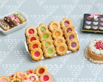Four Flavours of Fruity Jam-Filled Butter Cookies on Metal Baking Tray - 12th Scale Miniature Food