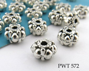 7mm Pewter Spacer Rondelle Beads, Puffy Rondelle, Antiqued Silver (PWT 572) 20 pcs BlueEchoBeads