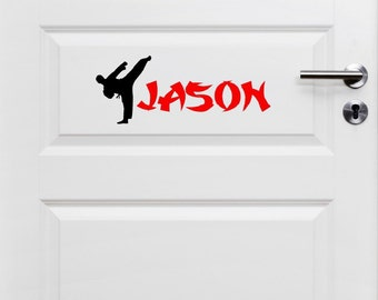 Karate Door Decal - Karate with Name - Karate Wall Art - Personalized Karate Decal - Martial Arts Decor - Personalized Martial Arts Wall Art