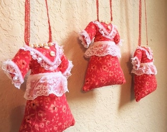 Christmas Ornaments Farmhouse Dresses Set Of 3 Handmade