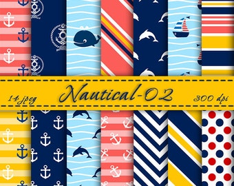 INSTANT DOWNLOAD -  Nautical digital  paper pack, Digital Backgrounds, Scrapbooking Paper,  Digital Paper, Nautical Scrapbook Paper