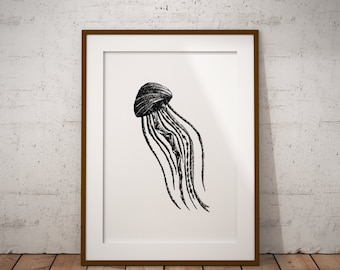 Jellyfish, Geometric, Stippling Black And White Ink Drawing, Giclee Print