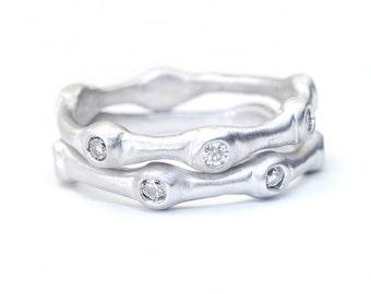 Diamond Ring, Stacking Rings, Wedding Band, Stacking Bands, Organic Ring, Diamond Stacking Ring, Gold Ring, Organic Diamond Ring, Nixin