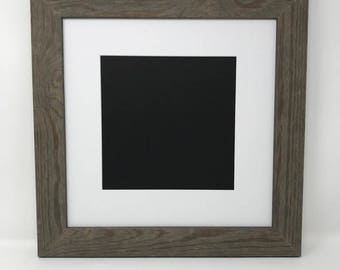 """16x16 Square1.75"""" Rustic Grey Solid Wood Picture Frame with White Mat Cut for 12x12 SquarePicture"""