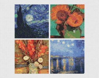 Van Gogh Cross Stitch Kit, Cross Stitch, Embroidery Kit, Art Cross Stitch, Floral Cross Stitch, Four Squares featuring Vincent Van Gogh