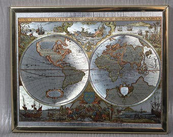 Vintage framed map of the world etsy 1970s printed mirror finish silver gold and bronze color map of the world vintage world atlas gumiabroncs Images