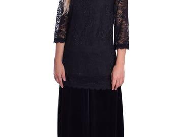 Black Lace Top Blouse Elegant Evening Wear