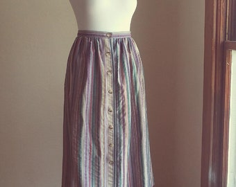 muted striped button-down skirt cotton blend knee-length a line skirt medium made in usa 80s casual purple lilac