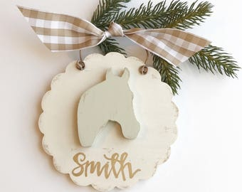 scalloped horse ornament