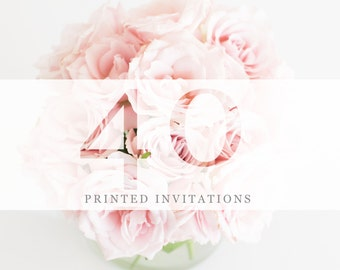 40 Premium Printed Invitations | White Envelopes