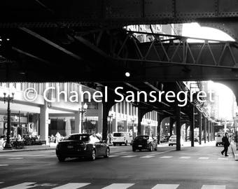 Streets of Chicago, Digital Download, Illinois, Black and White Photography