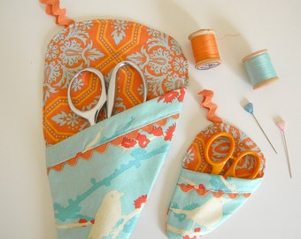 Scissor Sleeve-  Joel Dewberry Sparrow in Aqua and Orange