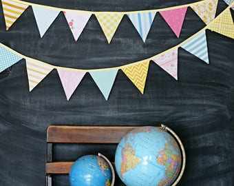 Bunting Banner in Pink, Aqua and Yellow / Baby Girl Nursery Decoration / Baby Shower / Birthday Party