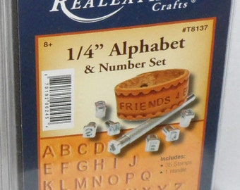"""REALEATHER 1/4"""" Alphabet & Number Stamp Set and Handle #T8137 new"""