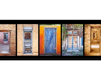 Group of colorful Southwest wood and stone doors on canvas . Size 12 x 36 or  sc 1 st  Etsy & Industrial doors | Etsy