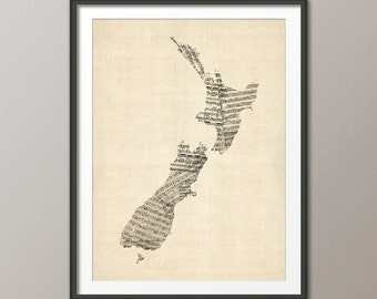 New Zealand Map, Old Sheet Music Map of New Zealand, Art Print (2201)