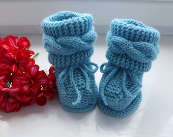 Knitted baby booties, toddler booties, warm knitted baby booties, newborn baby booties, autumn baby booties, baby shower girft