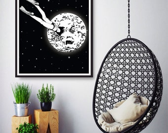 A Trip to the Moon - Le Voyage Dans la Lune, Wall Art Prints, Modern Decor, Black and White Prints, Wall Decor, Wall Prints, Home Decor.