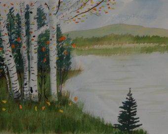 The pond in fall in watercolor
