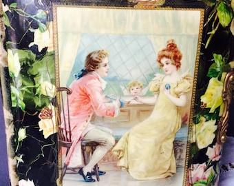 Antique  Celluloid & VelvetVictorian Photo Album Golden Edges 19 Century Lovers in the Garden Roses Black Vintage Edwardian Valentine Album