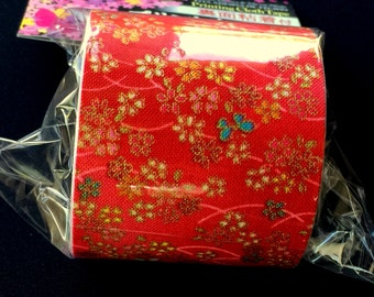 Japanese Fabric Tape - Red Tape - Flower Fabric Tape - Cherry Blossoms - Butterfly (FT2)