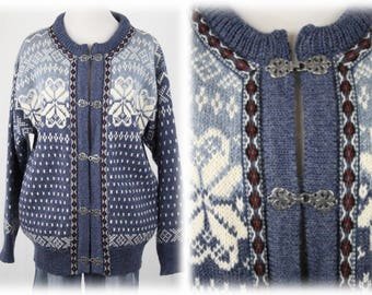 Vintage Dale of Norway Wool Cardigan Sweater with Clasps