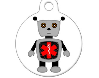 Medical Id Tag - Robot Medical Alert Pet Tag, ID Tag, Child ID Tag, Dog ID Tag