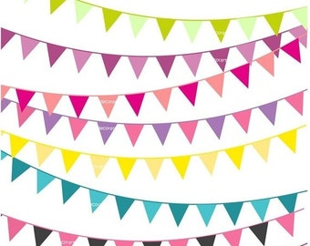 ON SALE bunting clip art,solid colour bunting clip art,flag banner, 10 solid colour flag banner , 50% Sale