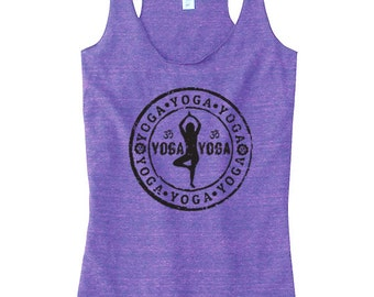 YOGA Tank Top, Racerback Yoga Top, Women's Tank Top, Screen Printed Available: S M L Xl Color Options