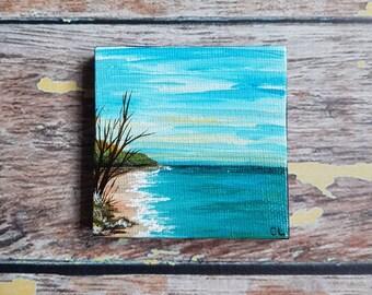 """Miniature Seascape Painting   Magnetic Canvas Original Art   Landscape Painting   Beach Art   Coastal Decor   Fridge Magnet   2.5x2.5"""""""