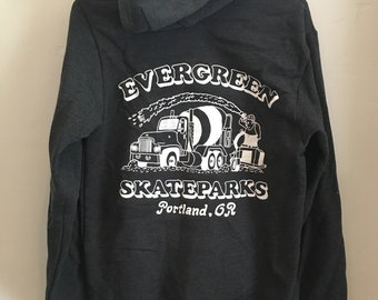 Charcoal gray pullover hoodie with concrete truck logo