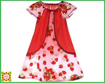 Tulip Peasant Dress Pattern for Girls + Free Mother-Daughter Apron Pattern, Sewing PATTERNS for Children, Toddler, Baby, 12m-12y