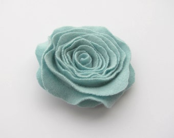 Rose Pin Cashmere Felted Wool Rose Brooch Mint Green Recycled Wool Flower Pin