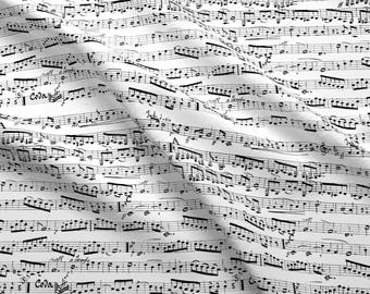 Music Notes Fabric - Black And White Music Notes By Inspirationz - Musician Composer Music Cotton Fabric By The Yard With Spoonflower